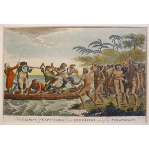 The landing of captain cook at erramanga, one of the new hebrides