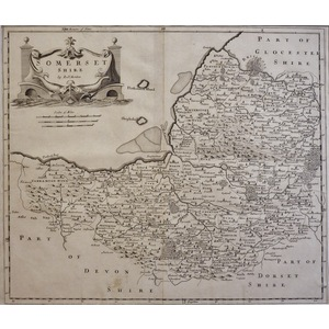 Morden ; Robert (1650 – 1703). Somersetshire. Original antique map. First impression.  Is well kn...