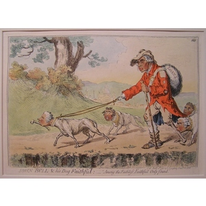 John bull & his dog faithful; amoung the faithless, faithful only found. Original copper engravin...