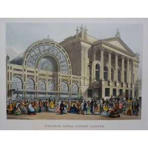 Theatre Royal Covent Garden. Original Antique Engraving. Handcoloured. Published For Mighty Londo...