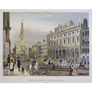 Somerset House & St. Mary Le Strand - Original Steel engraving. Published by T.H. Shepherd, 1858....