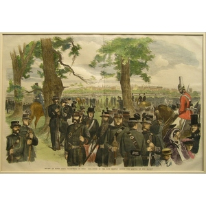 Review of the rifle corps volunteers in hyde park - scene in th epark shortly before the arrival ...