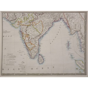 India, southern part, with ceylon - wyld, 1844