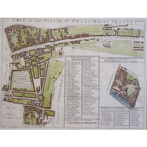 A Map of the Parish of St Mary White Chapel - Original antique map by Stow, 1720