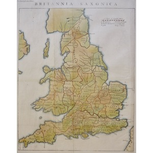 Britannia Saxonica or Saxon Britain - Original antique map by Rapin, 1751