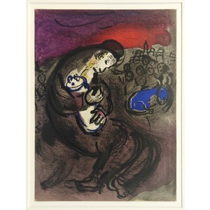 Marc Chagall, Weeping of Jeremiah, Original colour plate lithograph. Published for the Bible, vol...