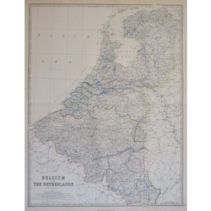 Belgium and The Netherlands - Original antique steel-plate engraved map  With original colour  Dr...