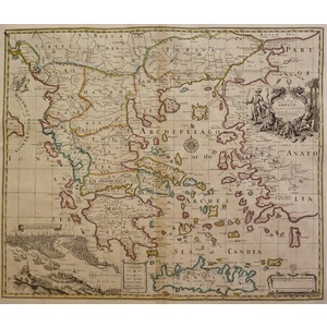 A map of greece with part of anatolia - j. Senex, 1721