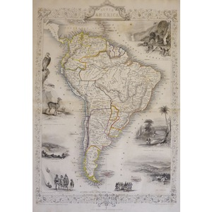 South America - Original antique steel engraved map.  With original hand-colour.  Published by Jo...