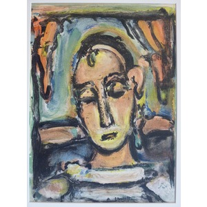 Rouault , Georges - Head of a Girl. Original Lithograph Published by Mourlot in 1939 for Verve Ma...
