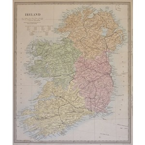 Ireland - Original hand coloured antique map. Engraved by J and C Walker. Published by SDUK, 1874...
