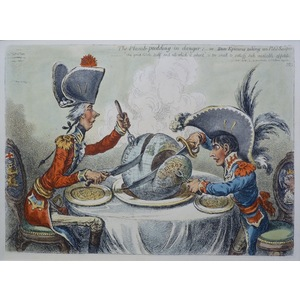 James Gillray.The Plumb Pudding in Danger;- or- State Epicures taking un Petit Souper. Original a...