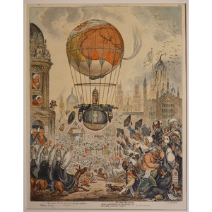 He steers his flight aloft, incumbent on the dusky air. Original copper engraving by James Gillra...