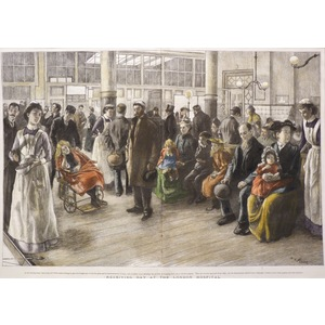 Receiving Day at the London Hospital - Original antique woodcut engraving. With hand-colour. Publ...