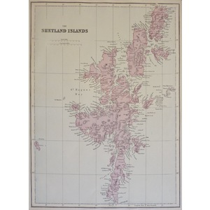 The Shetland Isles - Original antique map. Published by G.W. Bacon, 1881 for the