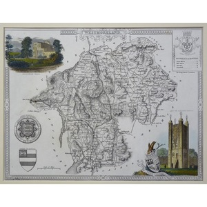 Moule - Thomas. (1785 – 1854 ) Westmoreland. Original antique map published for Barclays Complete...