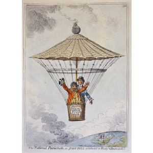 The National Parachute or John Bull Conducted to Plenty and Emancipation - Original Antique Coppe...