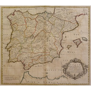 """Sennex ; John. Spain and Portugal;  Original hand coloured antique map. Published for """"A General ..."""