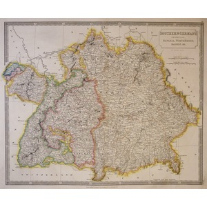 Southern Germany Comprising Bavaria, Wirtemberg, Baden, &c. - Original antique map by Sydney Hall...