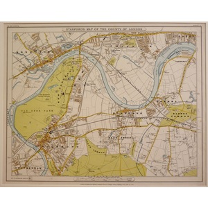 Stanfords map of the county of london - sheet 11 - kew, richmond, brentford, chiswick, barnes