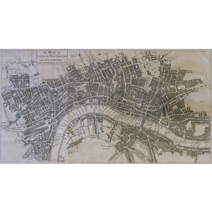 A Map of London, Westminster and Southwark. Original copper plate engraved map published in 1733 ...
