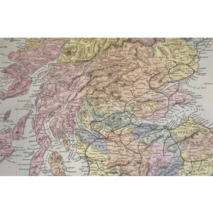 Scotland - Original hand coloured antique map. Engraved by J and C Walker. Published by SDUK, 187...