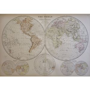 The World in Hemispheres on Various Projections - Original antique map, 1882