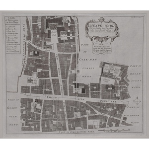 Stow, John (1525 - 1605)  - Cheape ward - Original antique copper-plate engraved map  Published f...
