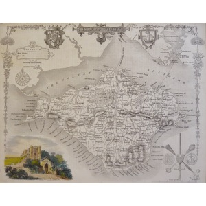 Moule - Thomas. (1785 – 1854 ) Isle of Wight. Original antique map published for Barclay's Comple...