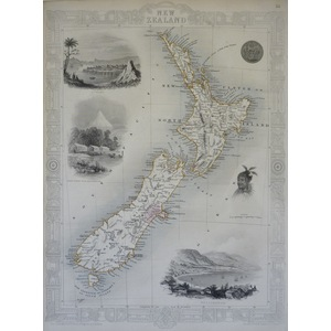 New zealand - J. Tallis, 1851. Original Antique Steel Engraved Map. With Original Hand-Colour. Pu...