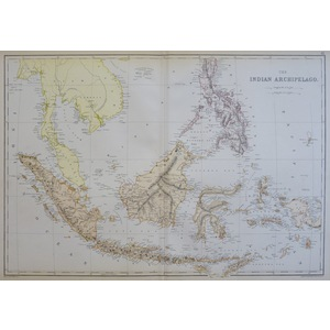 The Indian Archipelago - The Chinese Empire and Japan - Original antique map by Edward Weller. Co...