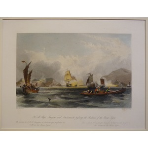 H.M. Ships imogene and andromache passing the batteries of the bocca tigris