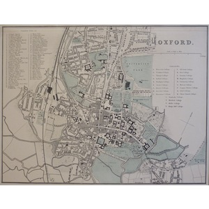 Oxford - Original antique map. Published by G.W. Bacon, 1881 for the