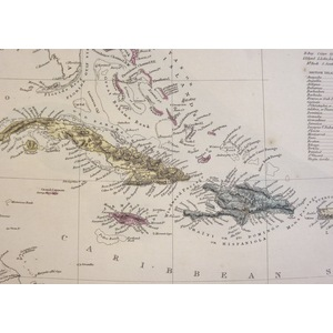 The Antilles or West India Islands - Original antique map. Engraved by J and C Walker. Published ...