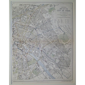 Letts map of the city of paris