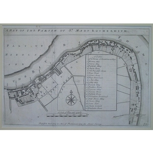 Stow, John (1525 - 1605) - A map of the parish of st mary rotherhith -  Original antique copper e...