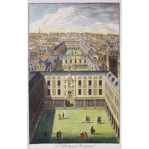 St. Thomas's Hospital - Original antique copper engraving  Engraved by Toms.  Published by Stow f...