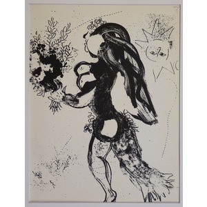 Marc Chagall,  L Offrande .Original lithograph, published 1960.