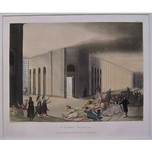St. Luke's Hospital - Original antique aquatint engraving Drawn and engraved by Rowlandson & Pugi...