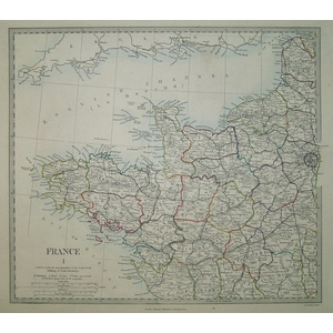France, North West - Original hand coloured antique map. Engraved by J and C Walker. Published by...