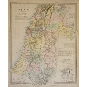 Palestine with The Hauran and the Adjacent Districts - Original hand coloured antique map. Engrav...