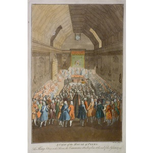 A view of the house of commons - a view of the house of peers. Original antique copper engravings...