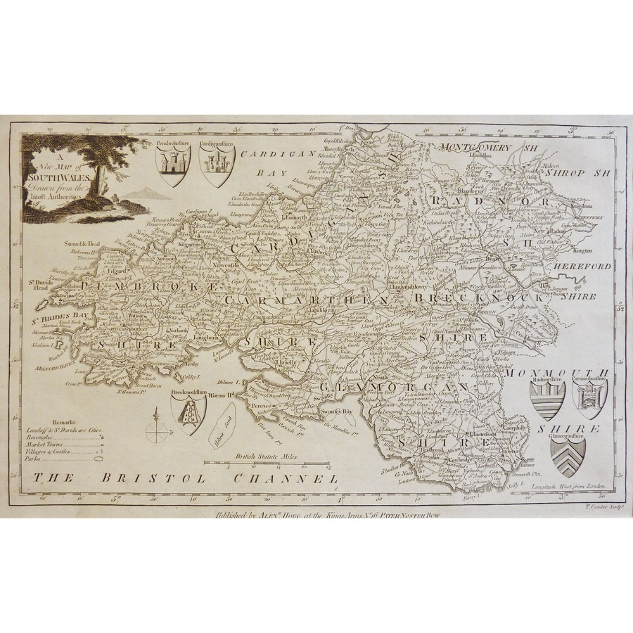 A New Map of South Wales - Or. | Storey's