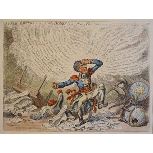 James Gillray. Manic ravings - or - Little Boney in a strong fit. Original Antique Copper Engravi...