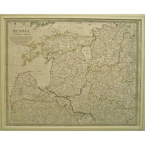 Russia in europe - Sheet III -Original hand coloured antique map. Engraved by J and C Walker. Pub...