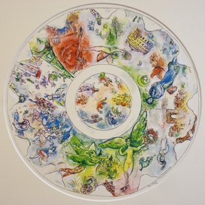 Marc Chagall - Original lithograph. Sketch for the ceiling of the Paris Opera house. From