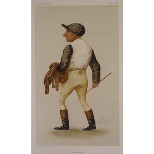 Jockey;  Charlie Wood ; Original antique lithograph, published for Vanity fair, 1886