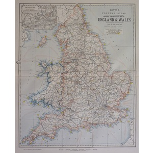 England and wales - railway and statistical map, letts 1885