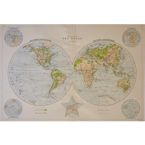 Physical Map of the World by J. Bartholomew, F.R.G.S. - Published 1920