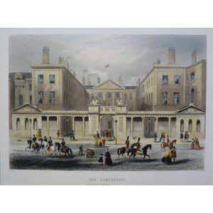 The Admiralty. Original Antique Engraving Published in 1858 for Mighty London